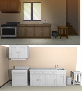 Converting objects to 3d models, above is the old kitchen background picture, below is the 3d objects from the kitchen.